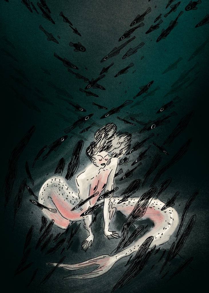 Illustration of a pale mermaid at the bottom of a body of water surrounded by black fish.
