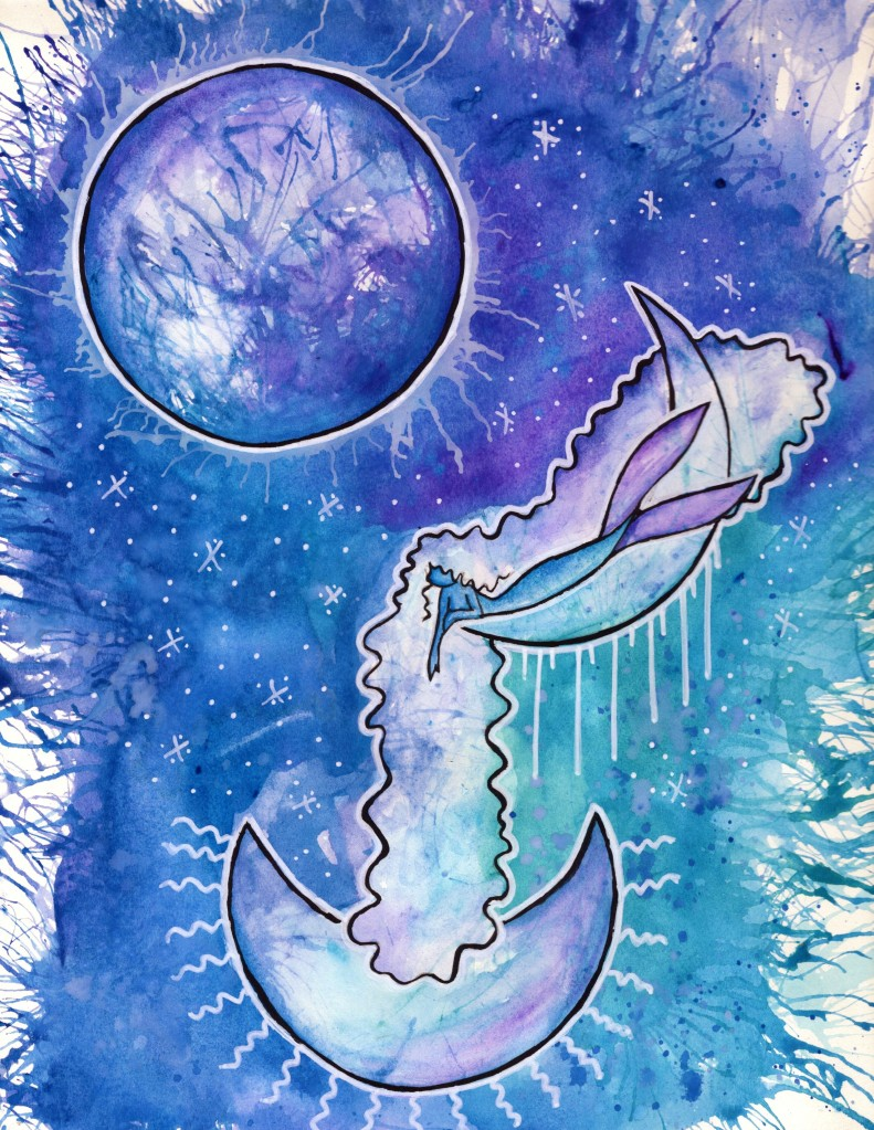 Watercolour and ink art of a mermaid in blues, purples, and teals. In the background is a planet and white ink stars, while the mermaid lies on a crescent moon, their hair and arm extending down to another crescent moon below.