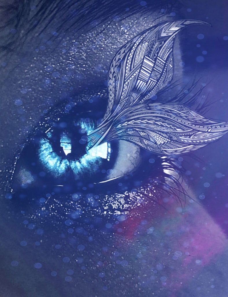 Close-up photograph of an eye in deep indigo blue, shimmering with water and bokeh sparkles, its iris a bright cyan. Extending from the pupil is an indigo linework mermaid tail, filled with various textures.